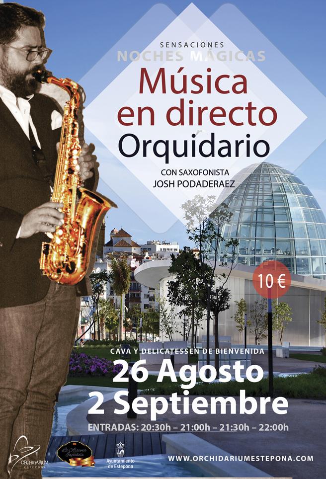 El Orquidario organiza noches mágicas con la actuación del saxofonista  Josh Podaderaez